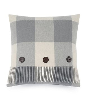 UGG® Glacier Fringed Buffalo Plaid Wool Feather Pillow