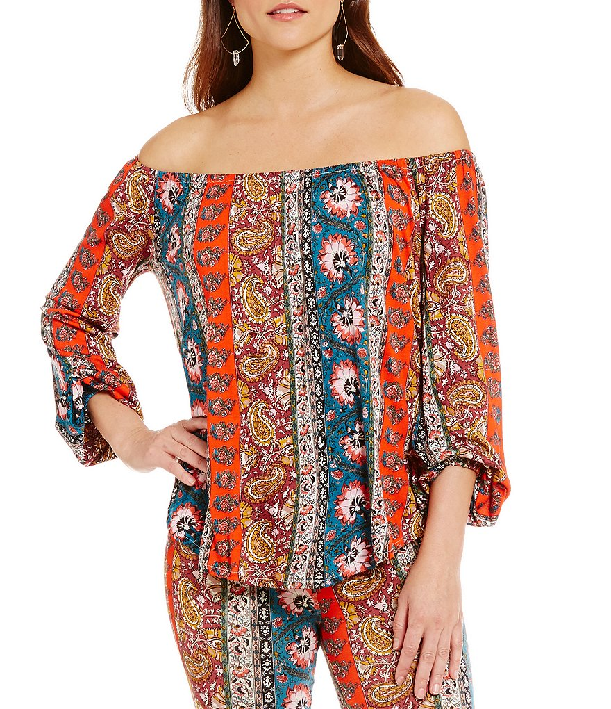 Billabong Behind Me Printed Off-The-Shoulder Knit Peasant Top