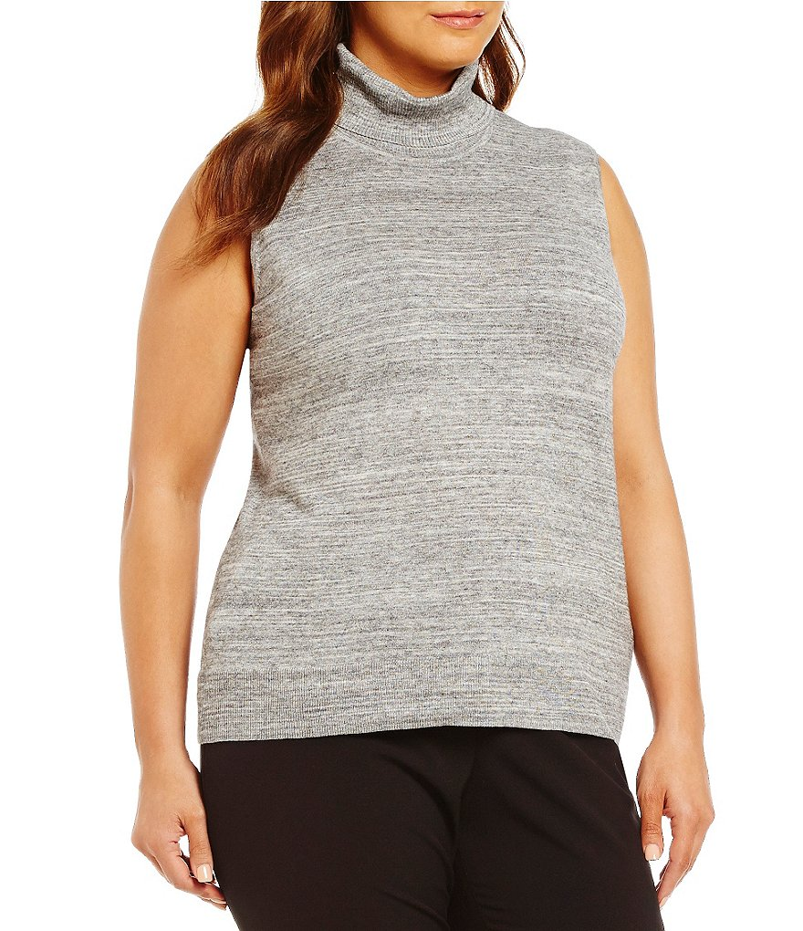 Calvin Klein Plus Spacedye Turtle Neck Sleeveless Sweater Top
