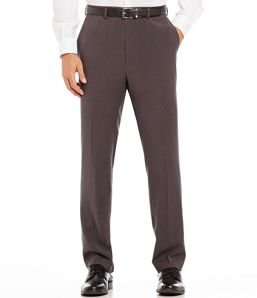 Roundtree & Yorke TravelSmart Ultimate Comfort Classic Fit Flat-Front Textured Dress Pants