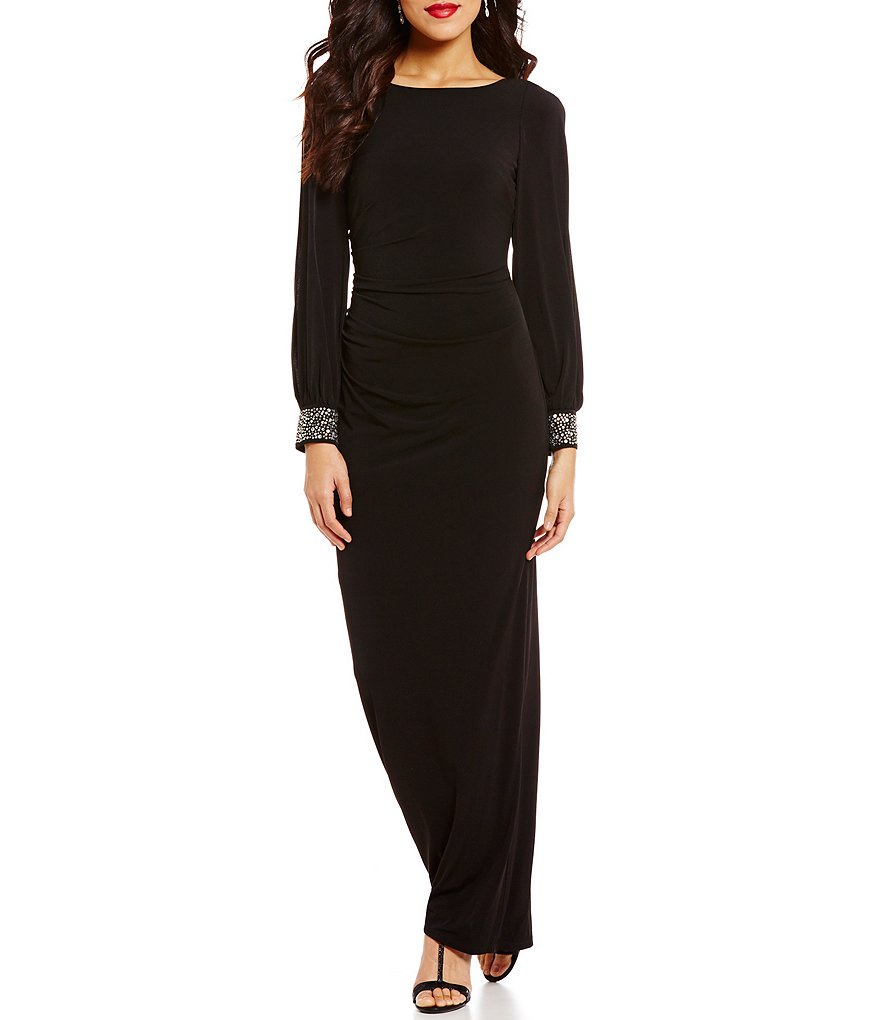 Jessica Howard Beaded-Cuff Ruched Column Gown