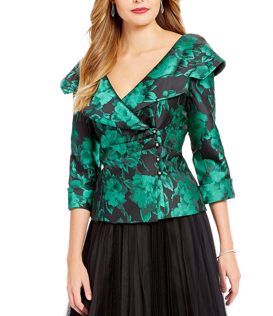 Alex Evenings Printed Portrait Collar Top