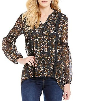 Blu Pepper Floral-Printed Lurex Crochet-Trim High-Low Hem Peasant Top