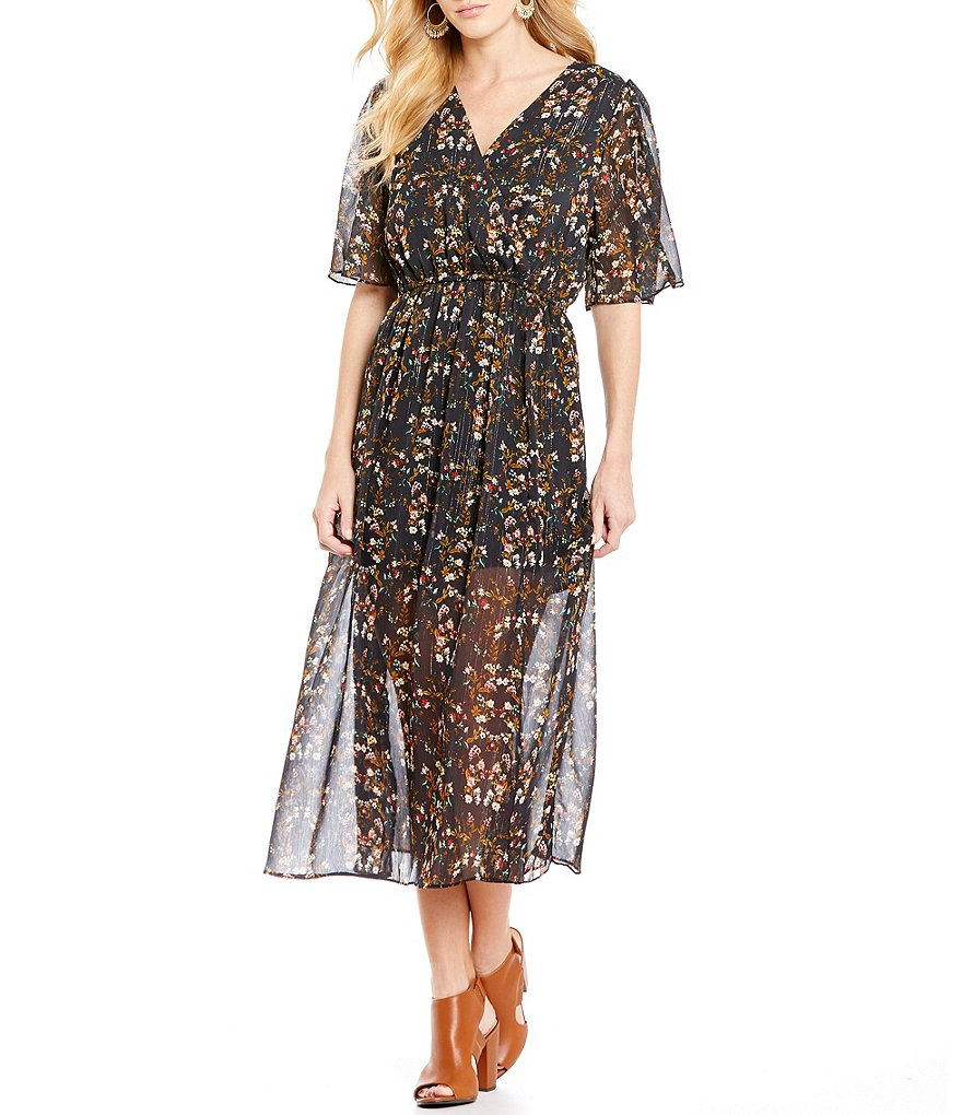 Blu Pepper Floral-Printed Lurex Chiffon V-Neck Maxi Dress