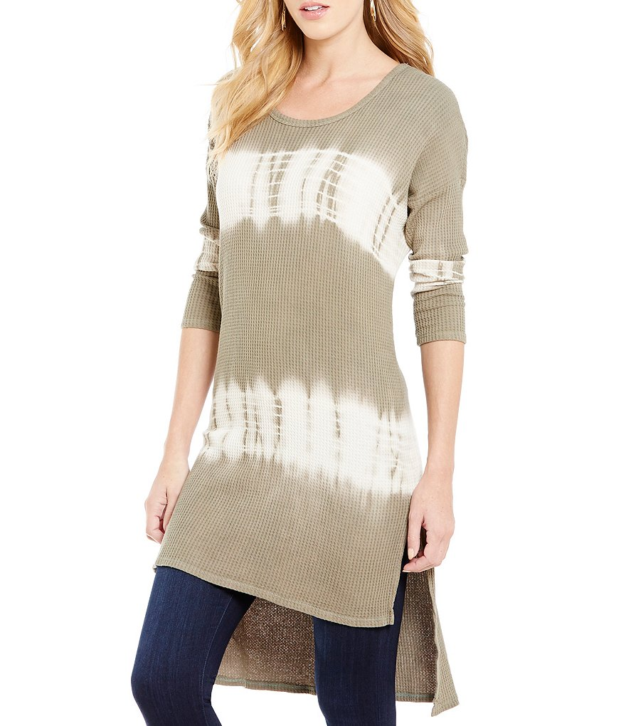 Blu Pepper Tie-Dye Slit High-Low Tunic