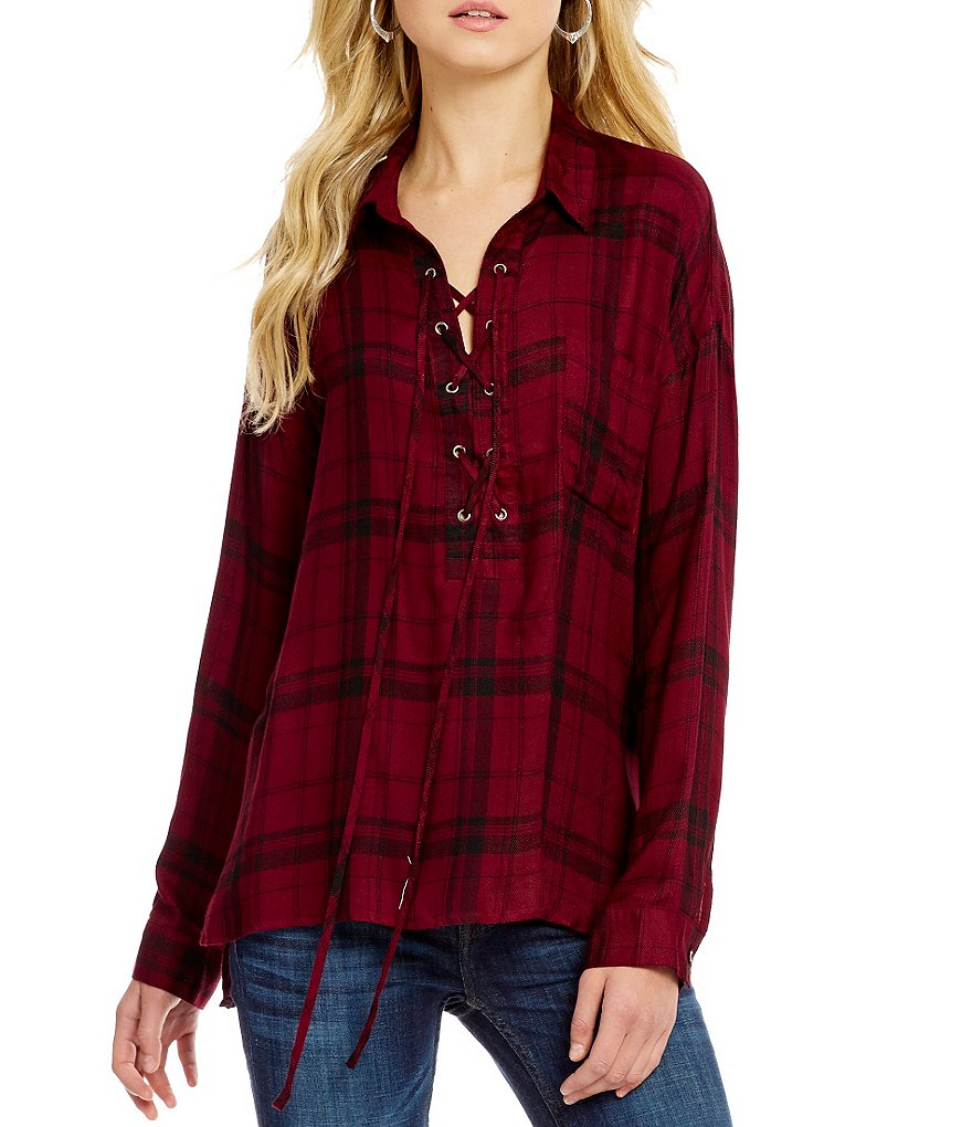 Blu Pepper Plaid Lace-Up Woven Top