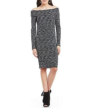Soprano Off-The-Shoulder Heathered Bodycon Dress