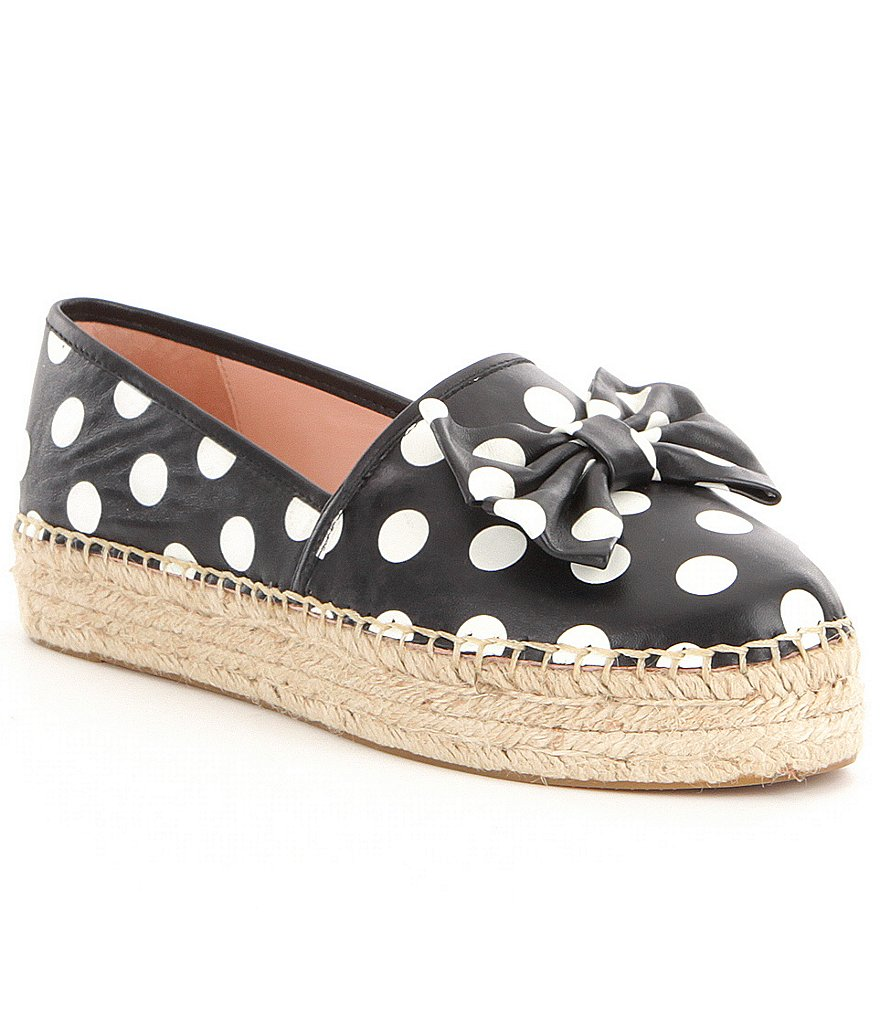 kate spade new york Linds Polka Dot Print Bow Detail Slip-On Espadrilles