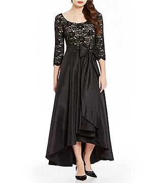 R&M Richards Lace Taffeta Hi-Low Ballgown