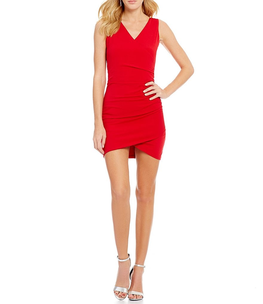 I.N. San Francisco Sleeveless Bead Draped Back Sheath Dress