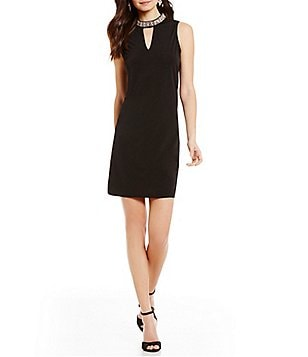 I.N. San Francisco Jewel Embellished Mock Neck Shift Dress