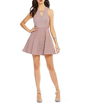 Dear Moon Glitter-Knit Cut-Out Skater Dress