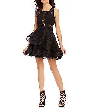 Dear Moon Sleeveless Asymmetrical Layered Skirt Glitter Lace Skater Dress