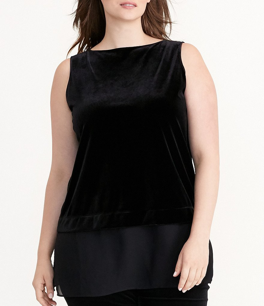Lauren Ralph Lauren Plus Sheer-Hem Velvet Top