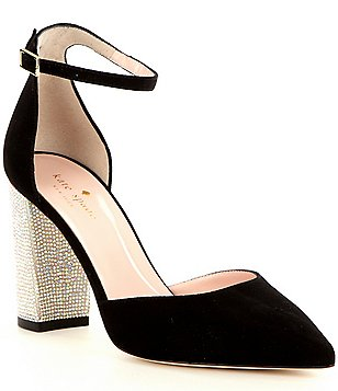 kate spade new york Pax Suede Stone Embellished Heel Pumps