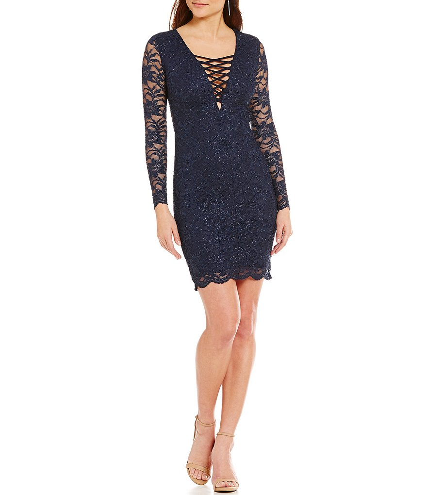B. Darlin Lace-Up Neckline Glitter Lace Sheath Dress
