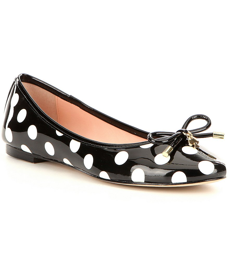 kate spade new york Willa Bow & Charm Detail Patent Leather Ballerina Flats
