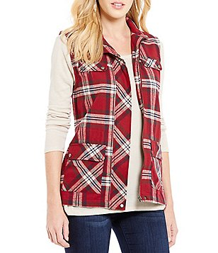 Blu Pepper Plaid Embroidered-Back Vest
