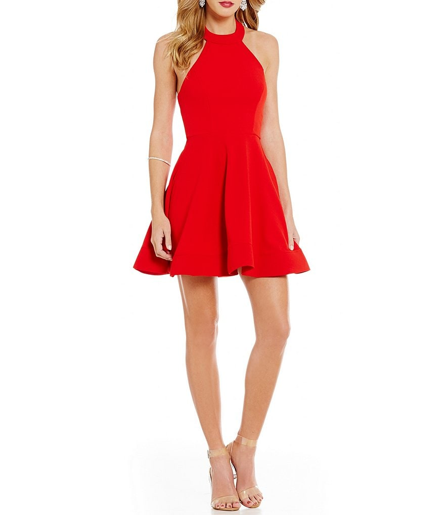 B. Darlin Bow Mock-Neckline Skater Dress