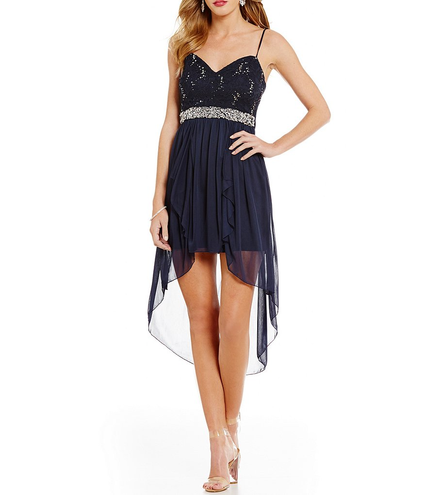 B. Darlin Sequin-Lace Bodice Spaghetti Strap Sweetheart Neck High-Low Sheath Dress