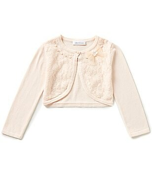Bonnie Jean Little Girls 2T-6X Long-Sleeve Lace-Front Beaded Bow Cardigan