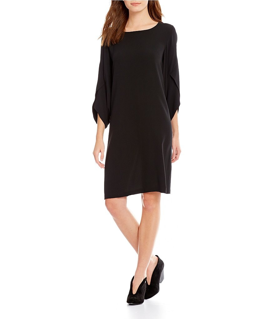 Eileen Fisher Ballet Neck Solid Kimono Dress