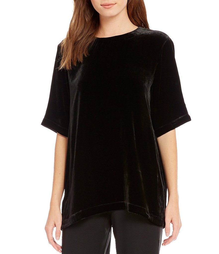 Eileen Fisher Round Neck Velvet Top