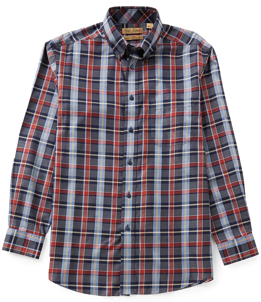 Gold Label Roundtree & Yorke Big & Tall Non-Iron Heather Plaid Sportshirt
