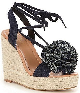 kate spade new york Daisy Denim Pom-Pom Espadrille Wedges