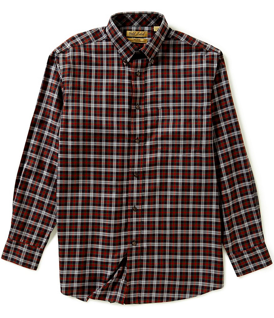 Gold Label Roundtree & Yorke Big & Tall Non-Iron Plaid Sportshirt