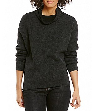 Eileen Fisher Recycled Plaited Cashmere Funnel Neck Top