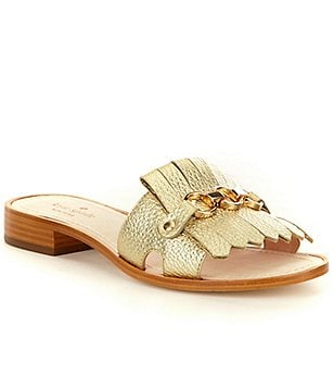 kate spade new york Brie Metallic Slip-On Kiltie Slides