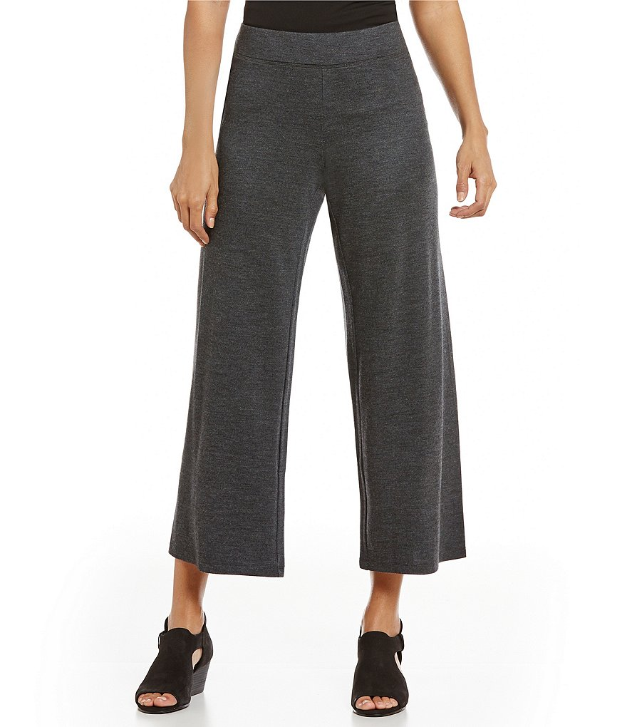 Eileen Fisher Sleek Heathered Wool Jersey Ankle Pants