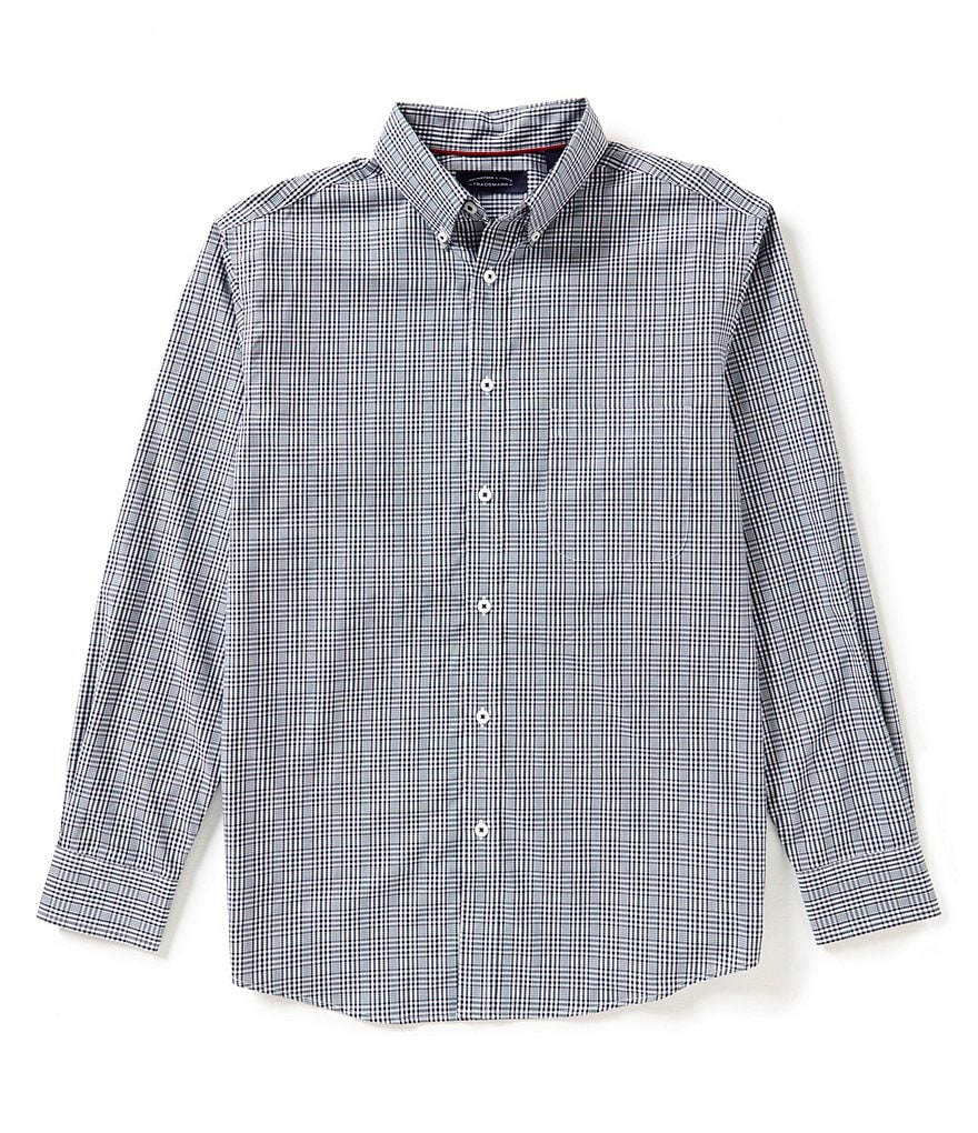 Roundtree & Yorke Trademark Big & Tall Long Sleeve Suiting Check Woven Sportshirt