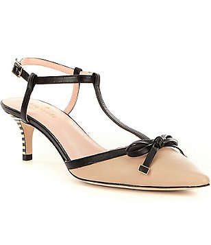 kate spade new york Pomona Pointed-Toe Bow T-Strap Pumps
