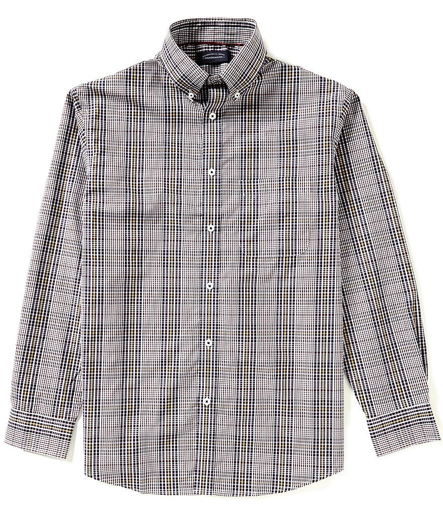 Roundtree & Yorke Trademark Big & Tall Long-Sleeve Plaid Woven Sportshirt