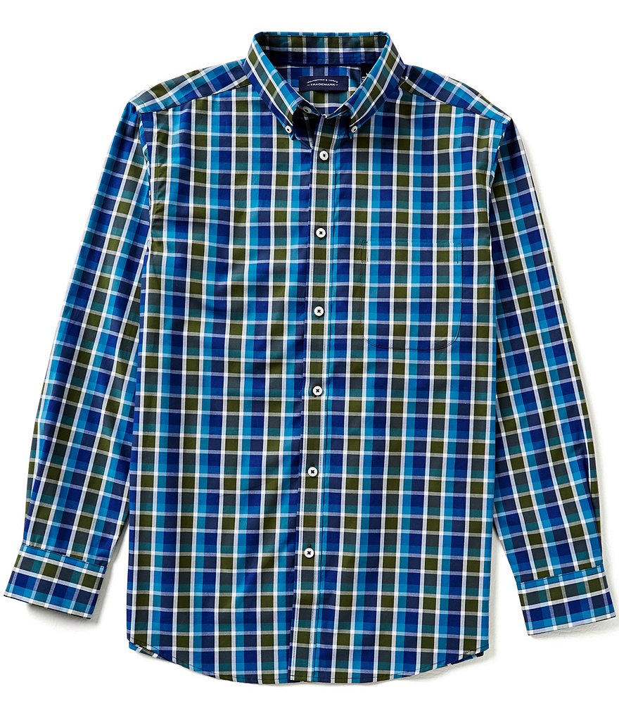 Roundtree & Yorke Trademark Big & Tall Long-Sleeve Medium Plaid Woven Sportshirt