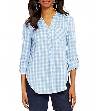 Intro Petites Plaid Y-Neck Shirttail Hem Top