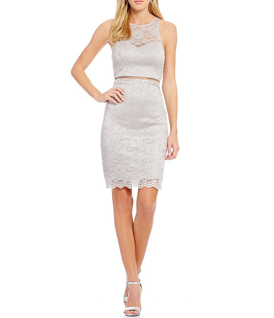Sequin Hearts Sleeveless Lace Sheath Dress