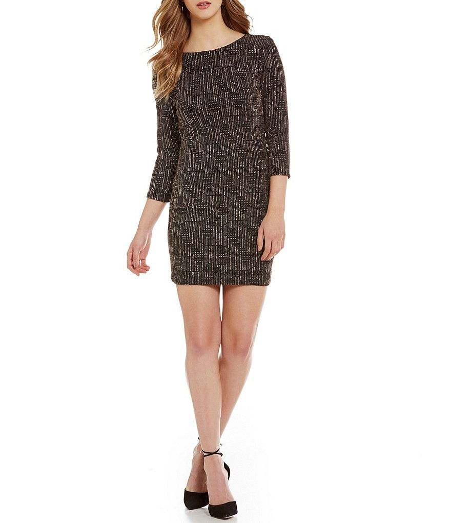 As U Wish Scoopback Glitter Knit Sheath Dress