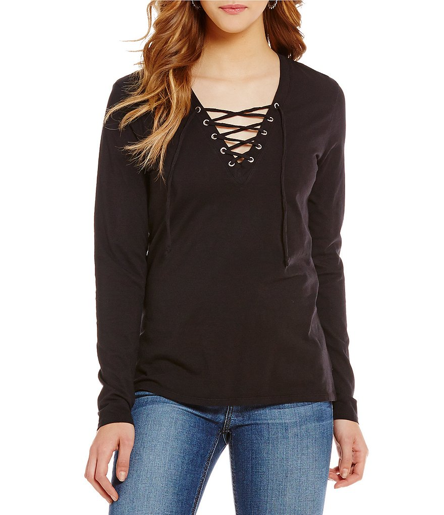 Joe´s Jeans Knit Amore Lace-Up Neck Top
