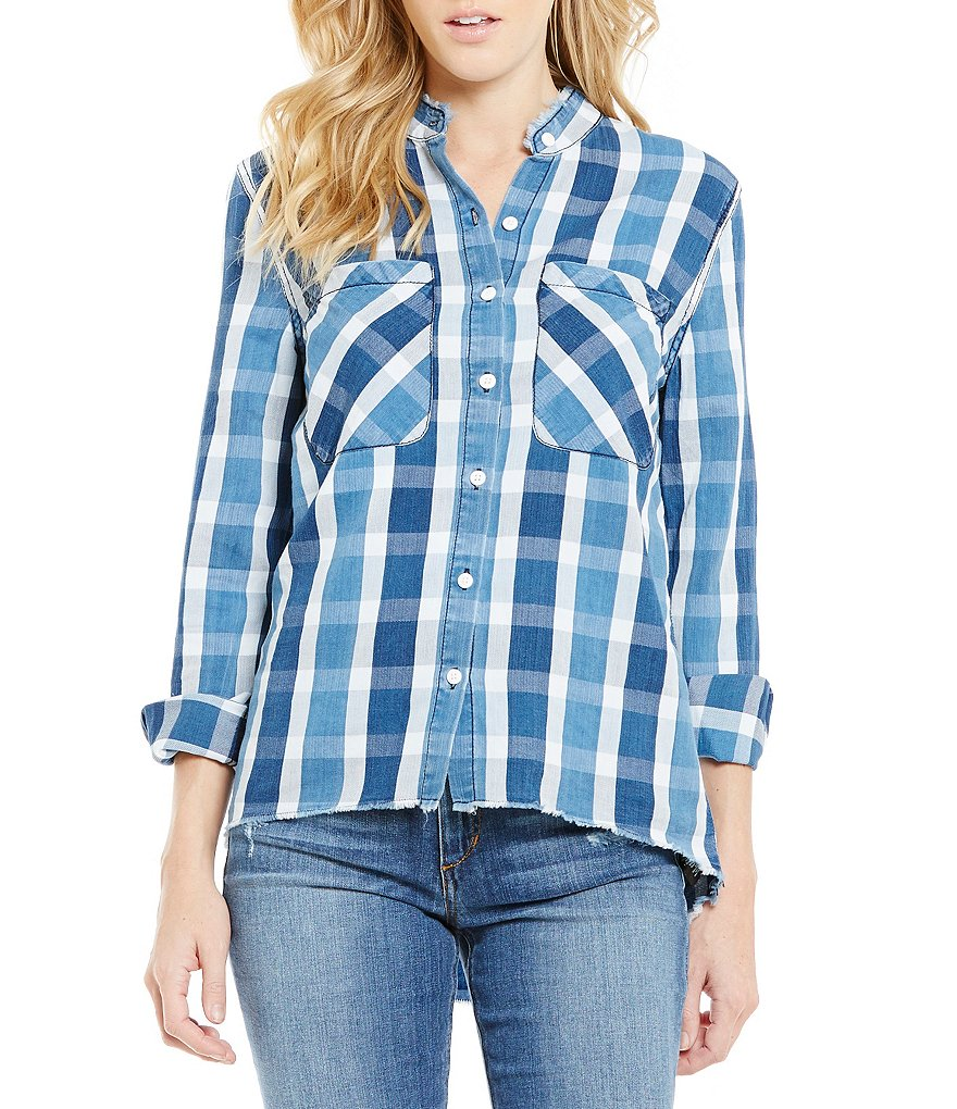 Joe´s Jeans Point Collar Raw Edge Plaid Aislin Top