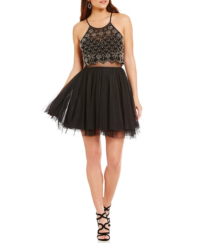Teeze Me Beaded Illusion-Waist Mesh-Skirt Faux-Two-Piece Skater Dress