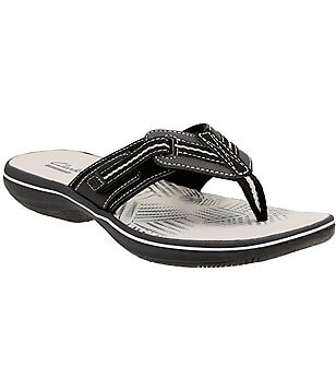 Clarks Brinkley Jazz Slip-On Adjustable Hook and Loop Flip Flops