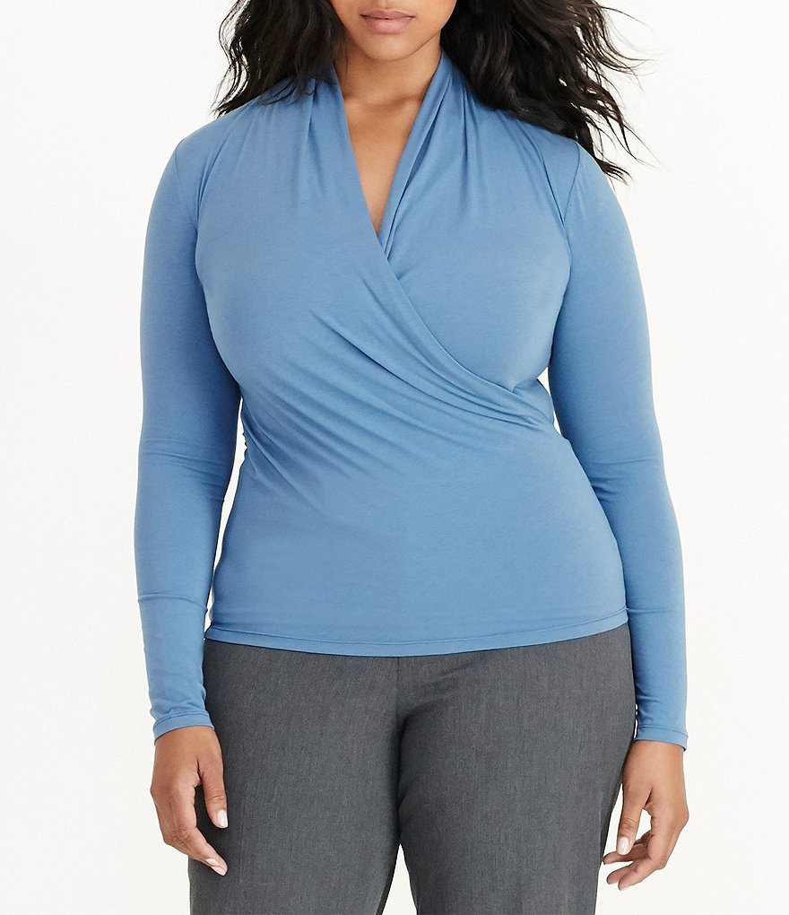Lauren Ralph Lauren Plus Faux-Wrap Jersey Top