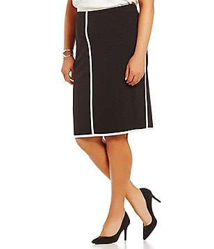Kasper Plus Crepe Column Pencil Skirt
