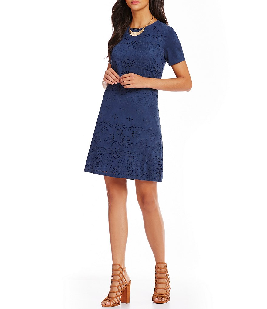 C&V Chelsea & Violet Laser Cut Faux Suede Shift Dress