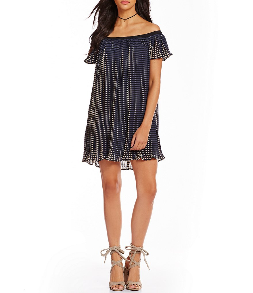 C&V Chelsea & Violet Pleated Checked Print Off-The-Shoulder Shift Dress