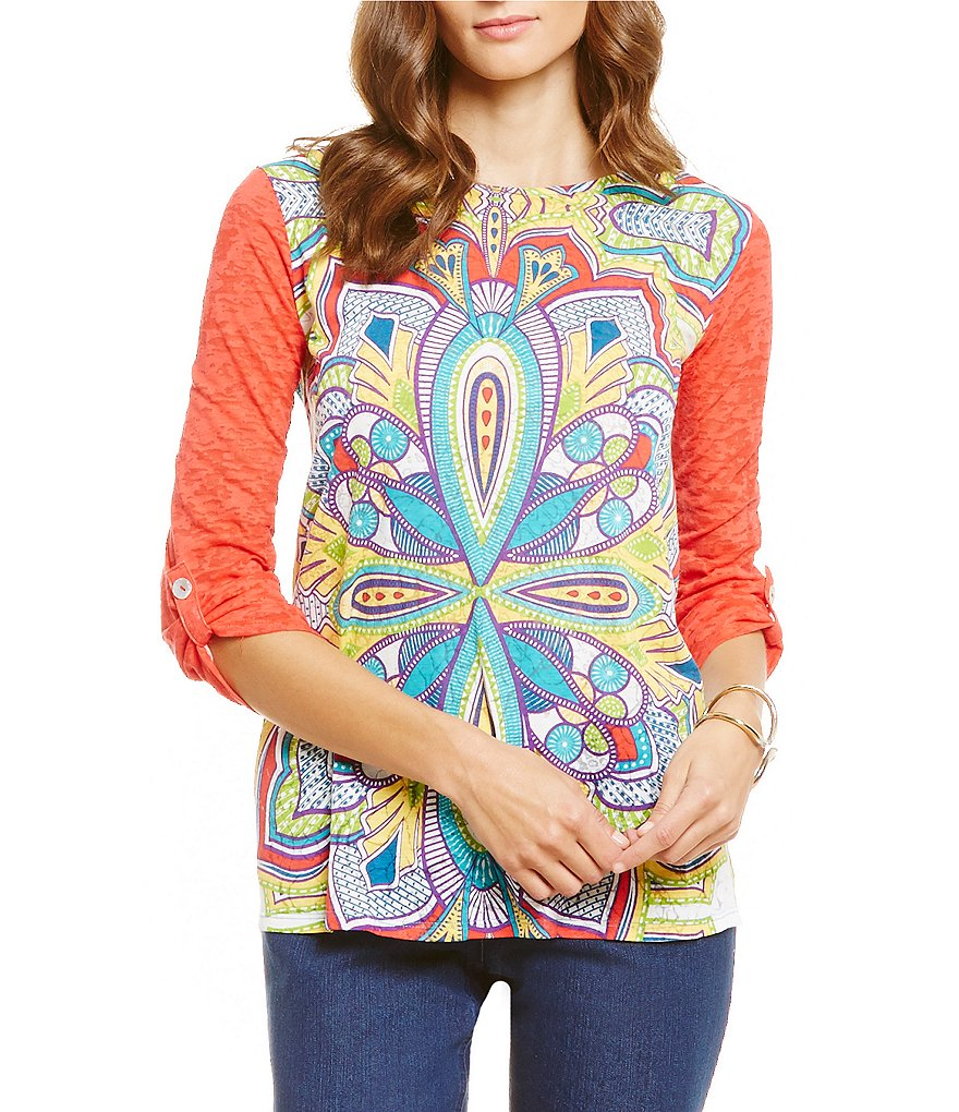 Westbound Petites Roll-Tab Elbow Sleeve Burnout Top