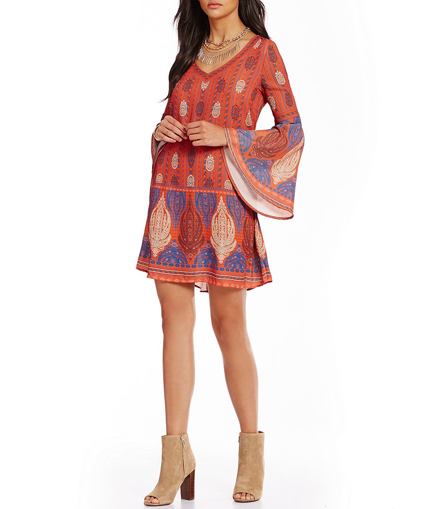 C&V Chelsea & Violet Tribal Printed Shift Dress
